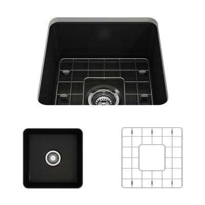 Sotto Undermount Fireclay 18 in. Single Bowl Kitchen Sink with Bottom Grid and Strainer in Matte Black