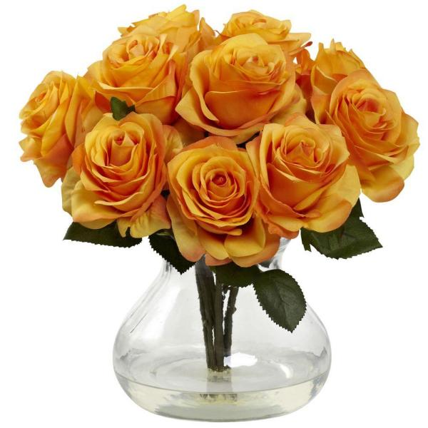 Nearly Natural Rose Arrangement with Vase 1367-OY