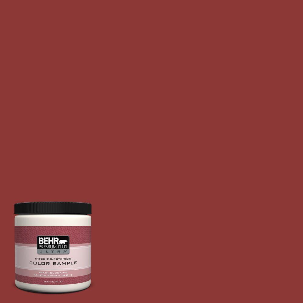 BEHR Premium Plus Ultra 8 oz. #PPF-40 Rocking Chair Red Matte Interior/Exterior Paint and Primer in One Sample