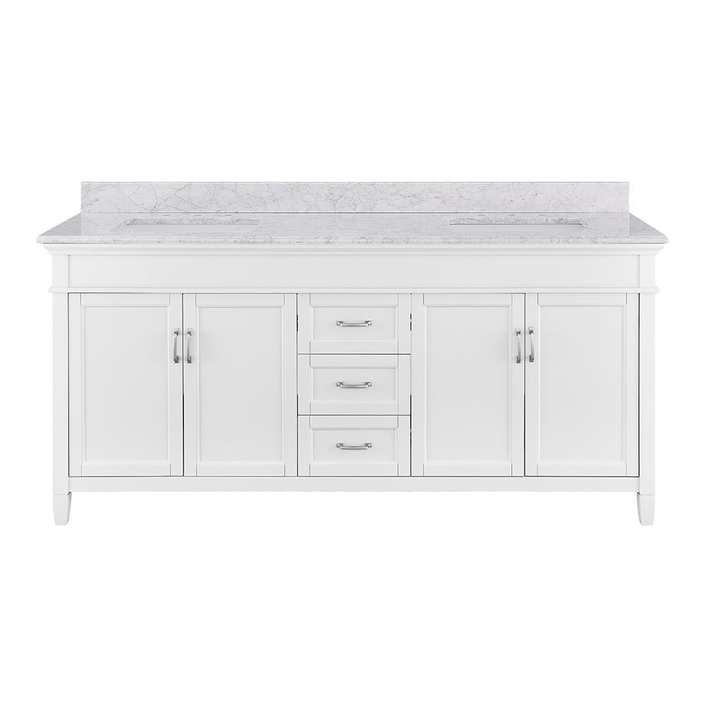 Ashburn 72 in. W x 21.75 in. D Vanity in White with Marble Vanity Top in Carrara White with White Sinks