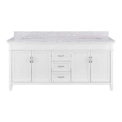 Ashburn 72 in. W x 21.75 in. D Vanity in White with Marble Vanity Top in Carrara White with White Basins