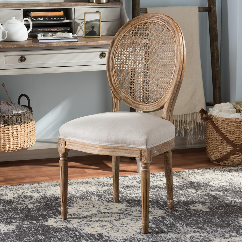Adelia Beige Fabric Upholstered Dining Chair HomeSullivan