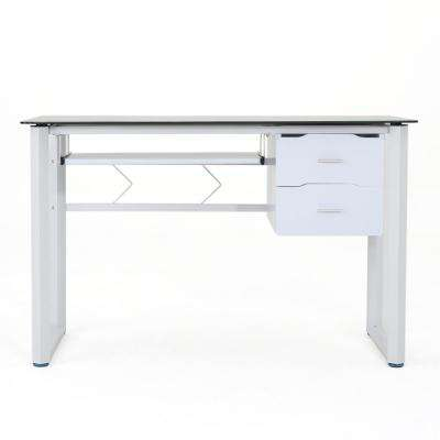 Reeve Black Tempered Glass Computer Desk with White Iron Frame and Wooden Drawers