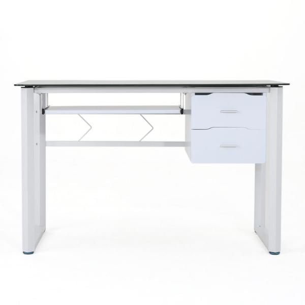 Noble House Reeve Black Tempered Glass Computer Desk with White Iron