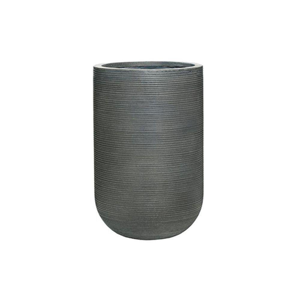 14 in. x 21 in. Rough Grey Round Fibercement Rough Pot