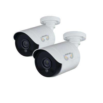 1080p Wired HD Analog White Bullet Standard Surveillance Camera with 100 ft. Night Vision and 60 ft. of Cable (2-Pack)
