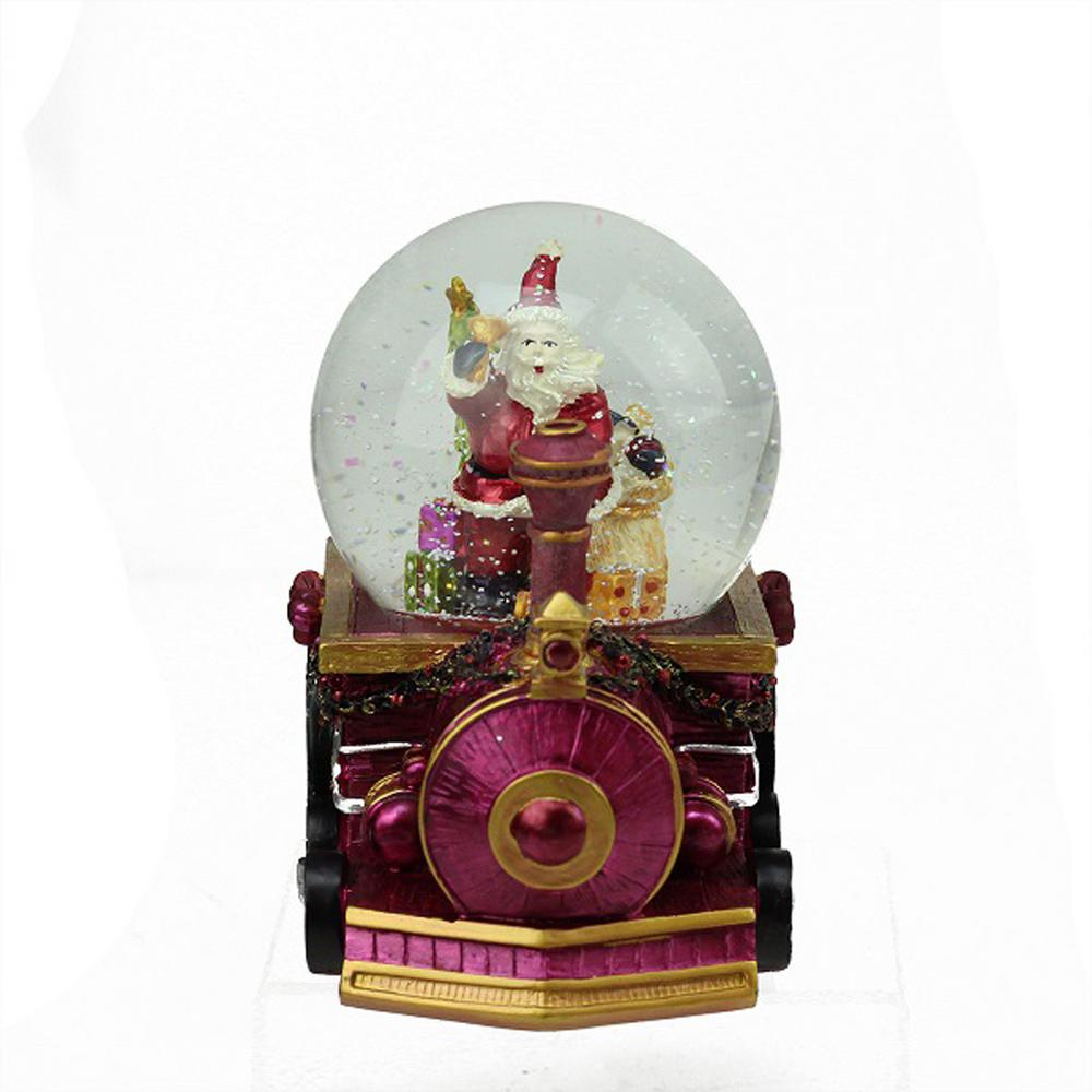 Northlight 5.25 in. Christmas Santa Claus with Sack of Gifts on Train Snow Globe Glitterdome Santa comes riding in on the Christmas train with a sack full of toys. He is ready to spread holiday cheer to all the girls and boys. Globe interior features Santa Claus with his sack full of Christmas gifts ringing a bell. Base is a purply-pink train adorned with garland and bows. Winds up and plays in. Santa Claus is Coming to Town. Recommended for indoor use. Dimensions: 5.25 in. H x 5.25 in. W x 5 in. D. Material(s): glass/resin.