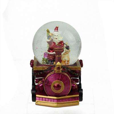 5.25 in. Christmas Santa Claus with Sack of Gifts on Train Snow Globe Glitterdome