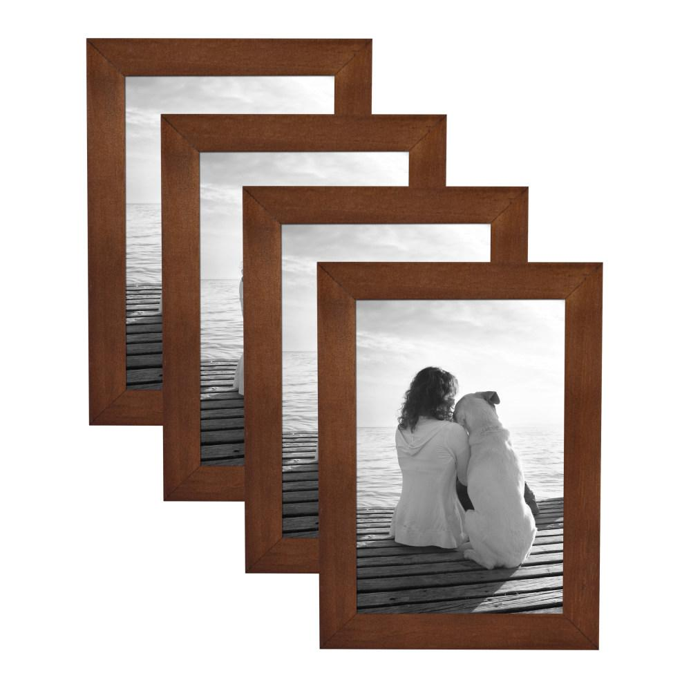 Gallery 4 in. x 6 in. Walnut Brown Picture Frame (Set
