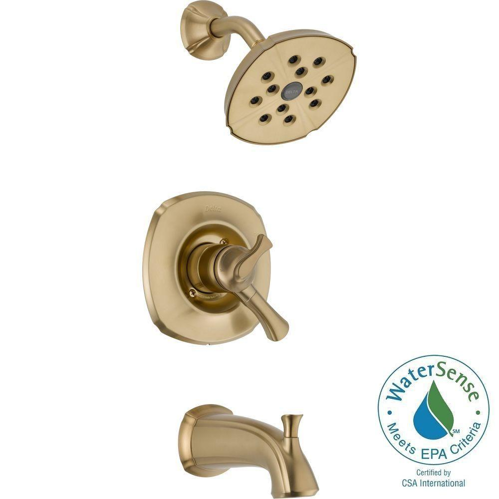 Delta Addison 1-Handle H2Okinetic Tub and Shower Faucet Trim Kit in Champagne Bronze (Valve Not Included)