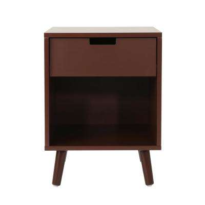 Ossian Modern Walnut Brown Wooden Accent Side Table with Drawer and Shelf