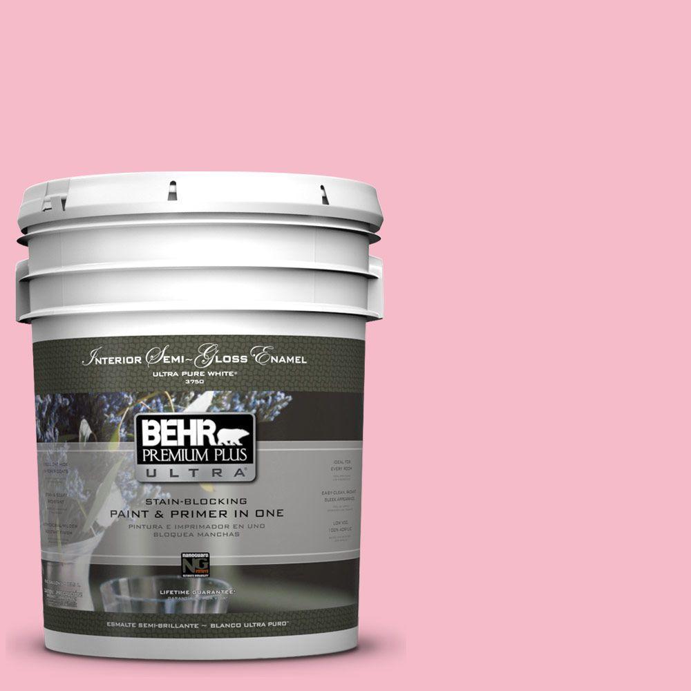5-gal. #120C-2 Pink Punch Semi-Gloss Enamel Interior Paint
