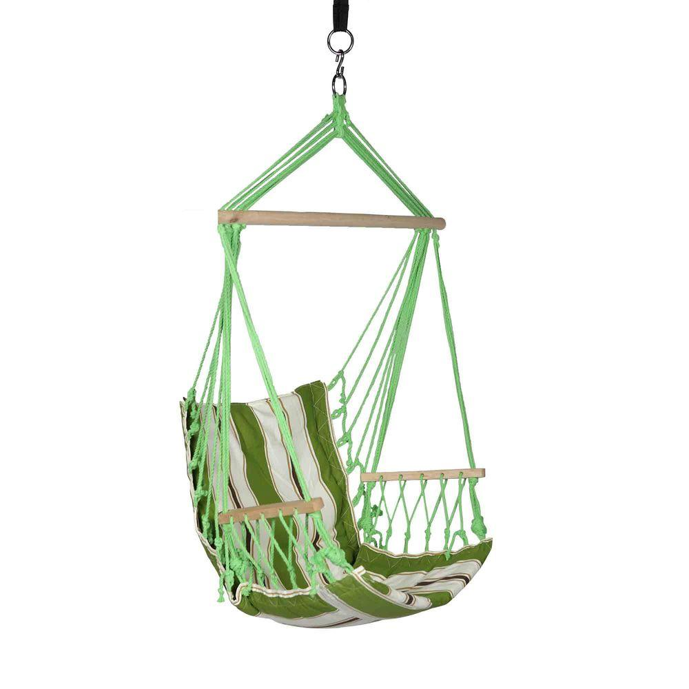 Blue Sky Outdoor 2.33 Ft. Cotton Hammock Hanging Chair With Armrests And  Hammock Straps LJ01746   The Home Depot