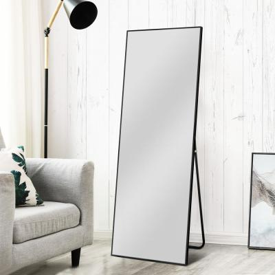 Oversized Black Composite Modern Mirror (64.17 in. H X 21.26 in. W)