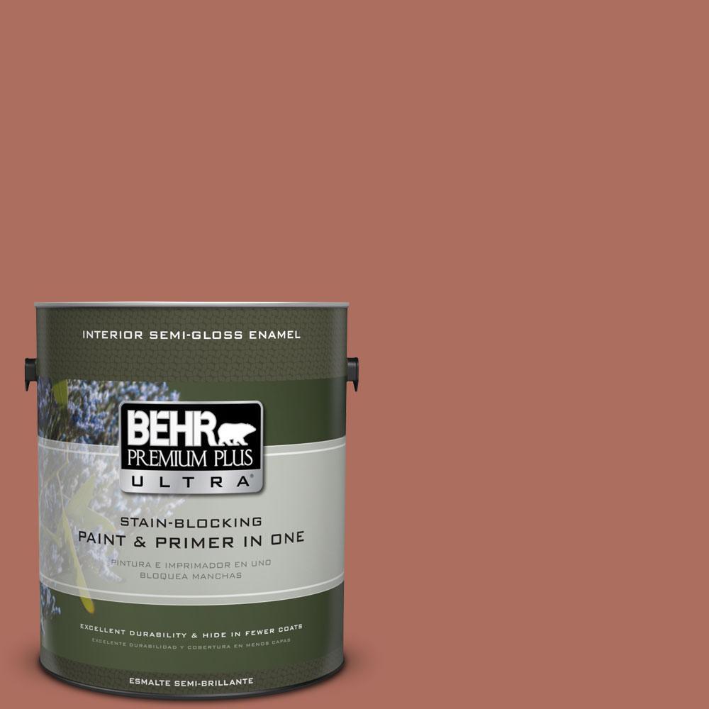 BEHR Premium Plus Ultra 1 gal. #PPU2-12 Terra Cotta Urn Semi-Gloss Enamel Interior Paint and Primer in One