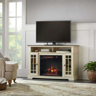 Canteridge 47 in. Freestanding Media Mantel Electric TV Stand Fireplace in Old World White with Brown Top