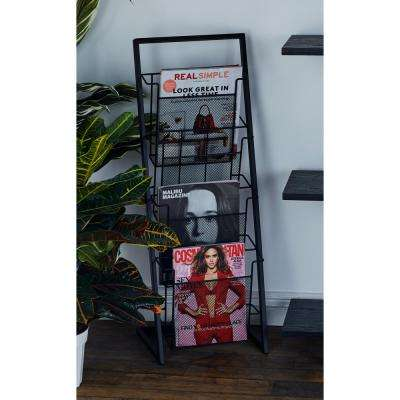 Black Freestanding 4-Tier Magazine Rack
