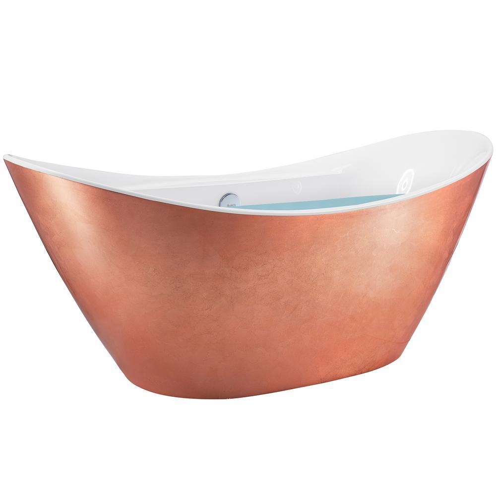 67 in. Fiberglass Copper Foil Acrylic Bathtub - Modern Flat Bottom Stand Alone Tub - Luxurious SPA Tub