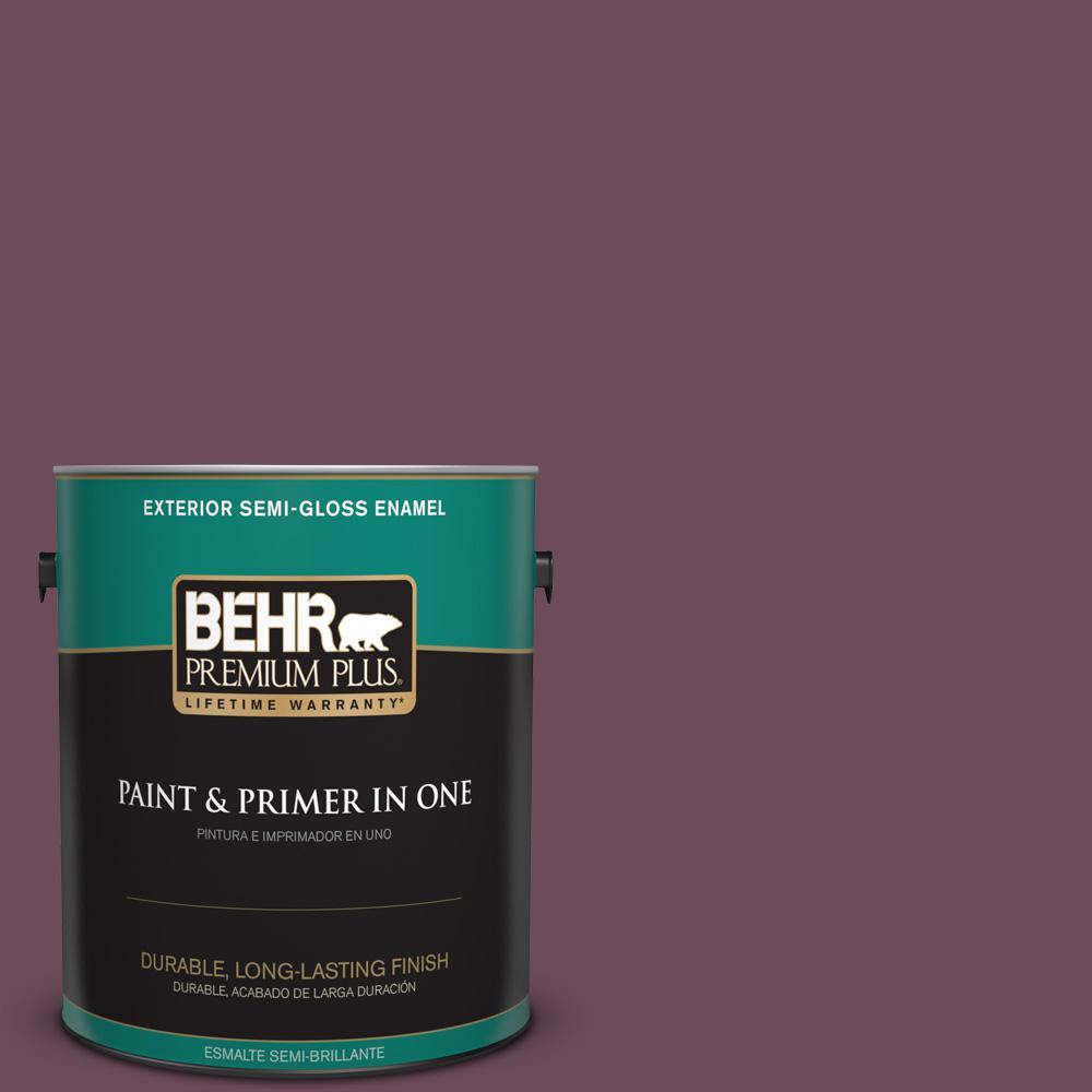 1 gal. #PPU1-20 Spiced Plum Semi-Gloss Enamel Exterior Paint