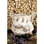 Litton Lane 11 in. Distressed Beige Iron Metal Footed Urn Planter Decorative Vase with Double Scrolled Handles