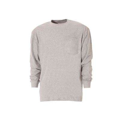 Men's Large Regular Grey Cotton and Polyester Heavy-Weight Long Sleeve Pocket T-Shirt