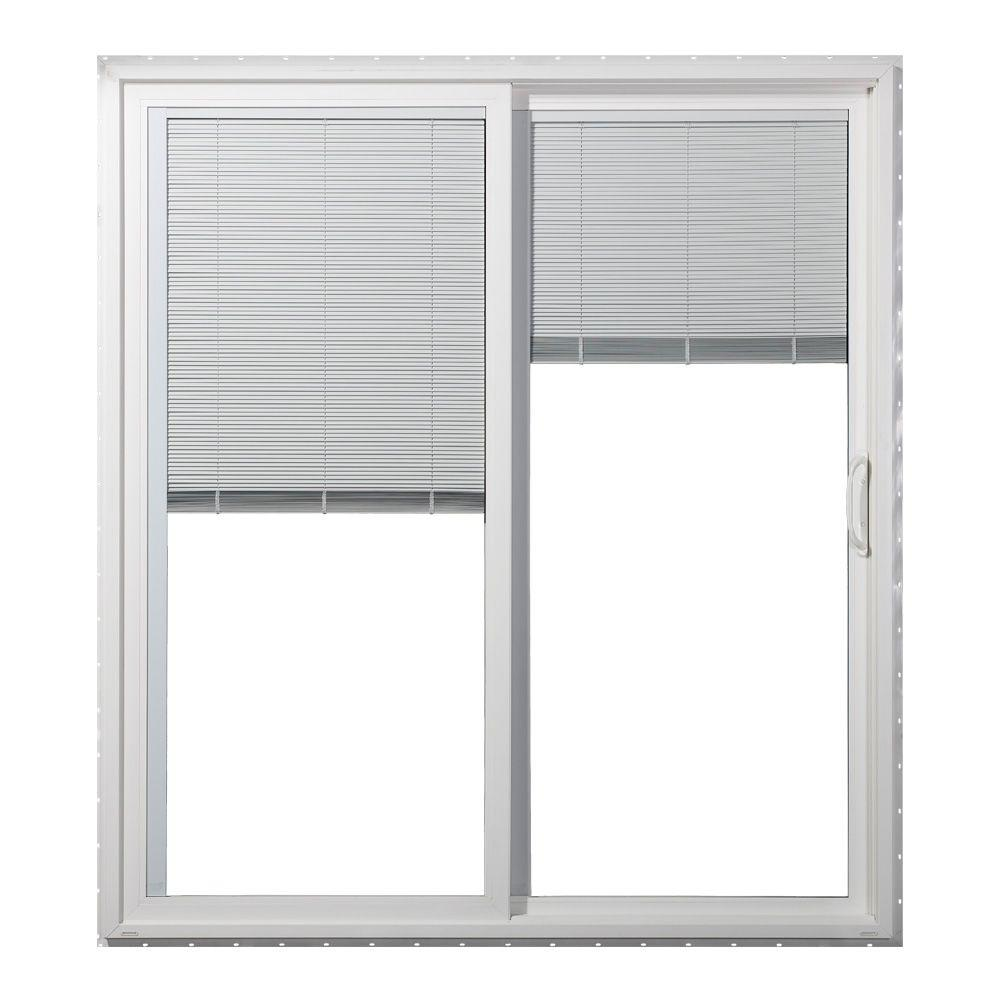 sliding patio door blinds JELD WEN 72 in. x 80 in. Premium White Vinyl Right Hand Full Lite  sliding patio door blinds