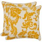 Aubrey Apricot Floral Down Alternative 18 in. x 18 in. Throw Pillow (Set of 2)
