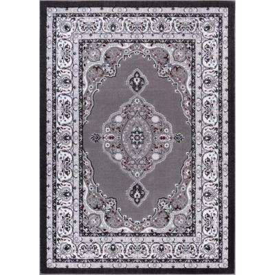 Dulcet Isfahan Medallion Grey 9 ft. x 13 ft. Traditional Area Rug