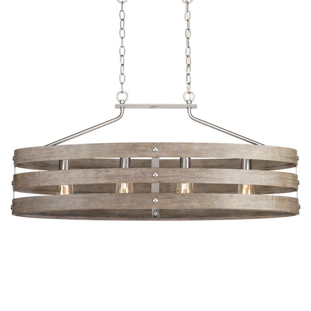 Gulliver 10.5 in. 4-Light Brushed Nickel Island Chandelier with Weathered Gray