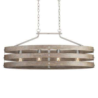 Gulliver 10.5 in. 4-Light Brushed Nickel Island Chandelier with Weathered Gray Wood Accents
