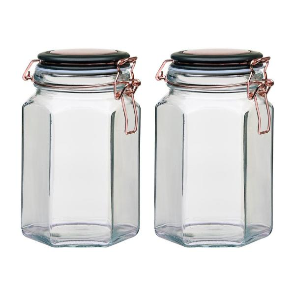 Amici Home Adler 42 oz. 2-Piece Glass Hermetic Canister with Copper