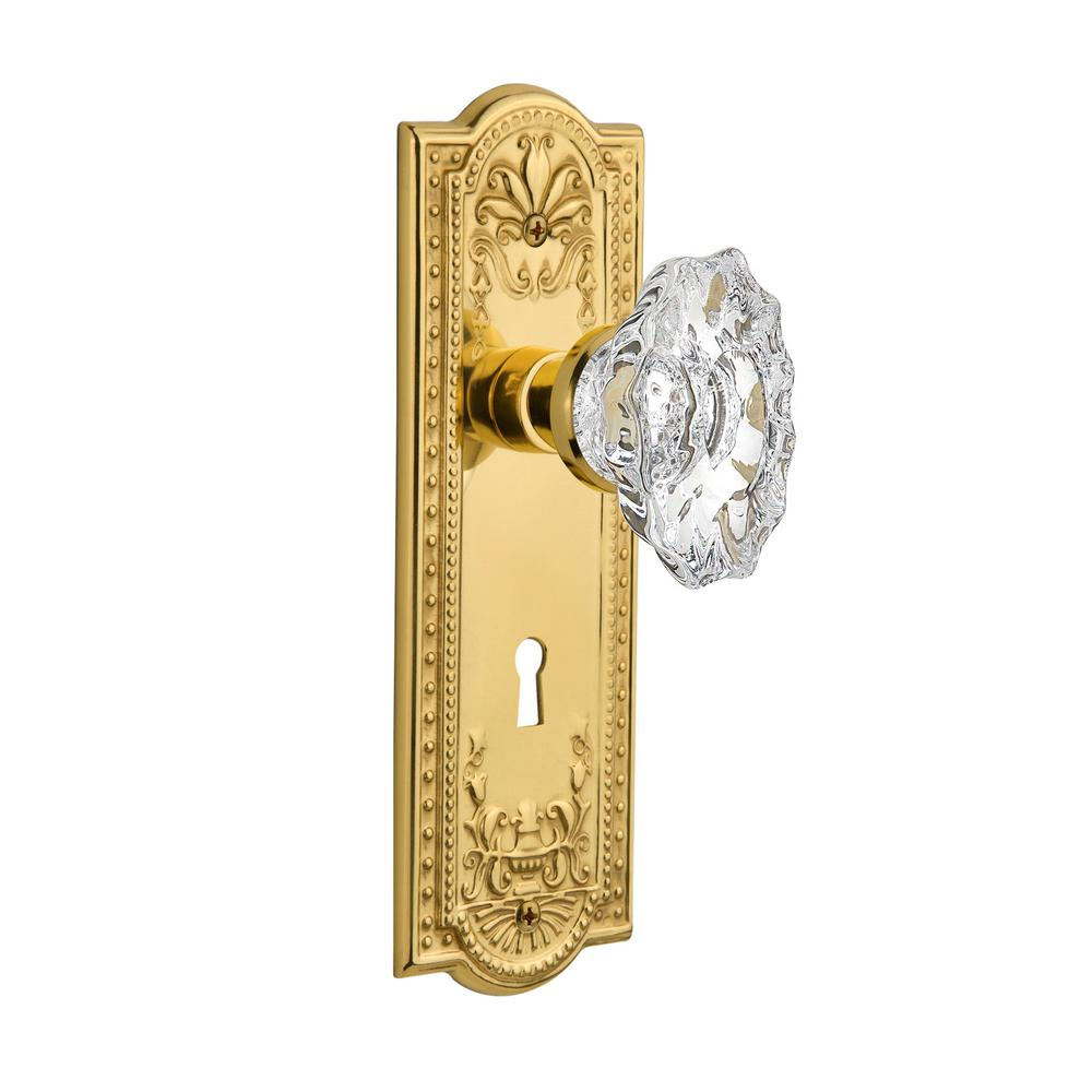 Meadows Plate with Keyhole 2-3/8 in. Backset Unlacquered Brass Privacy Chateau Door Knob