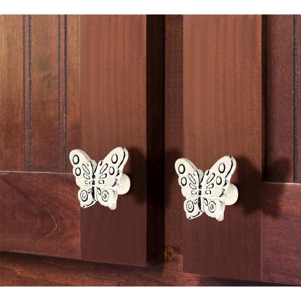 Mascot Hardware Butterfly 2 7 25 In 58 Mm Distressed White