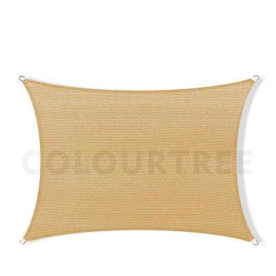 12 ft. x 8 ft. 190 GSM Sand Beige Rectangle Sun Shade Sail Screen Canopy, Outdoor Patio and Pergola Cover