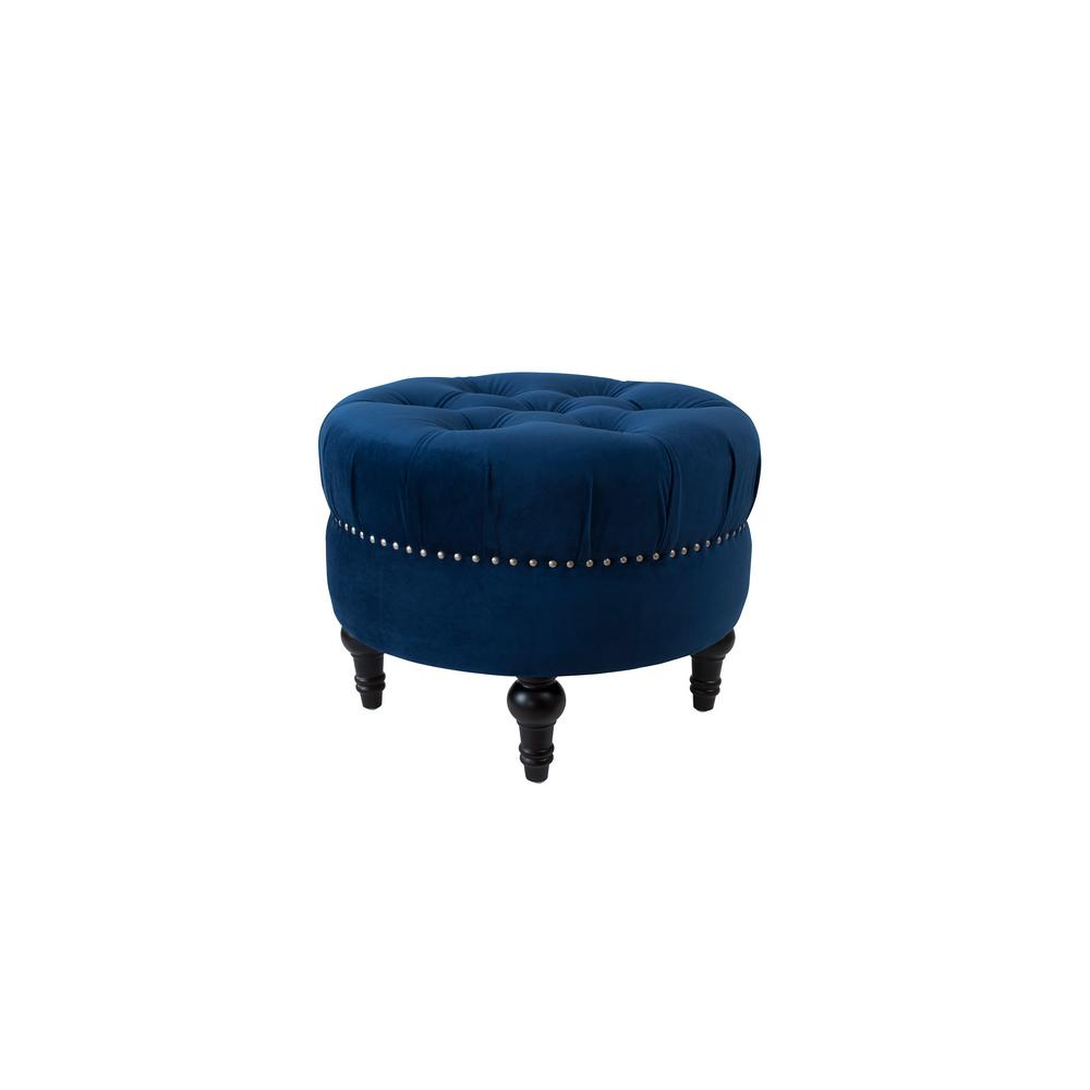Dawn Navy Blue Tufted Round Ottoman,