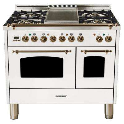 40 in. 4.0 cu. ft. Double Oven Dual Fuel Italian Range with True Convection, 5 Burners, Griddle, Bronze Trim in White