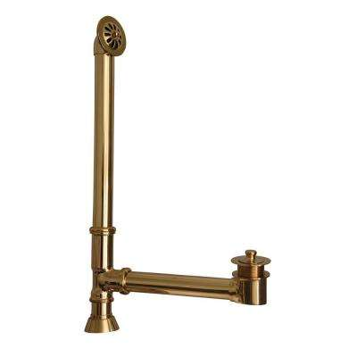Leg Tub Drain with Twist-and-Lift Stopper in Polished Brass