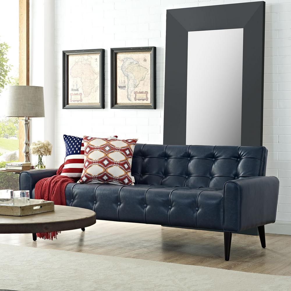 Modway Delve Blue Upholstered Vinyl Sofa