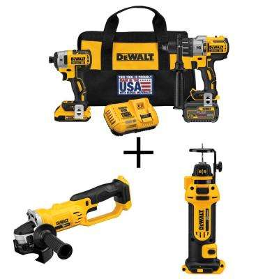 FLEXVOLT 60-Volt and 20-Volt MAX Lithium-Ion Cordless Brushless Combo Kit (2-Tool) with Bonus Grinder and Cut-Out Tool