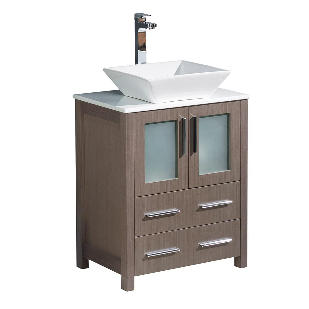 Fresca torino 24 in bath vanity in gray oak with glass for Local bathroom vanities