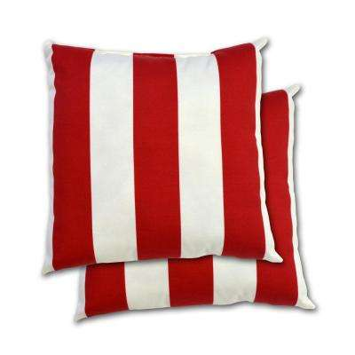 Red Cabana Stripe Square Outdoor Throw Pillow (2-Pack)