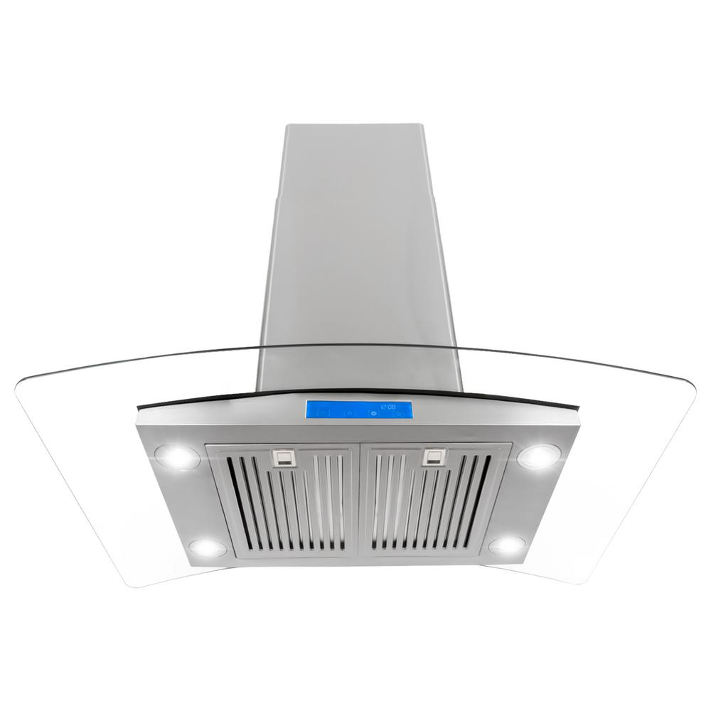 Cosmo 36 in ducted island mount range hood in stainless steel ducted island mount range hood in stainless steel with led lighting and publicscrutiny Images