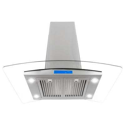 36 in. Ducted Island Mount Range Hood in Stainless Steel with LED Lighting and Permanent Filters