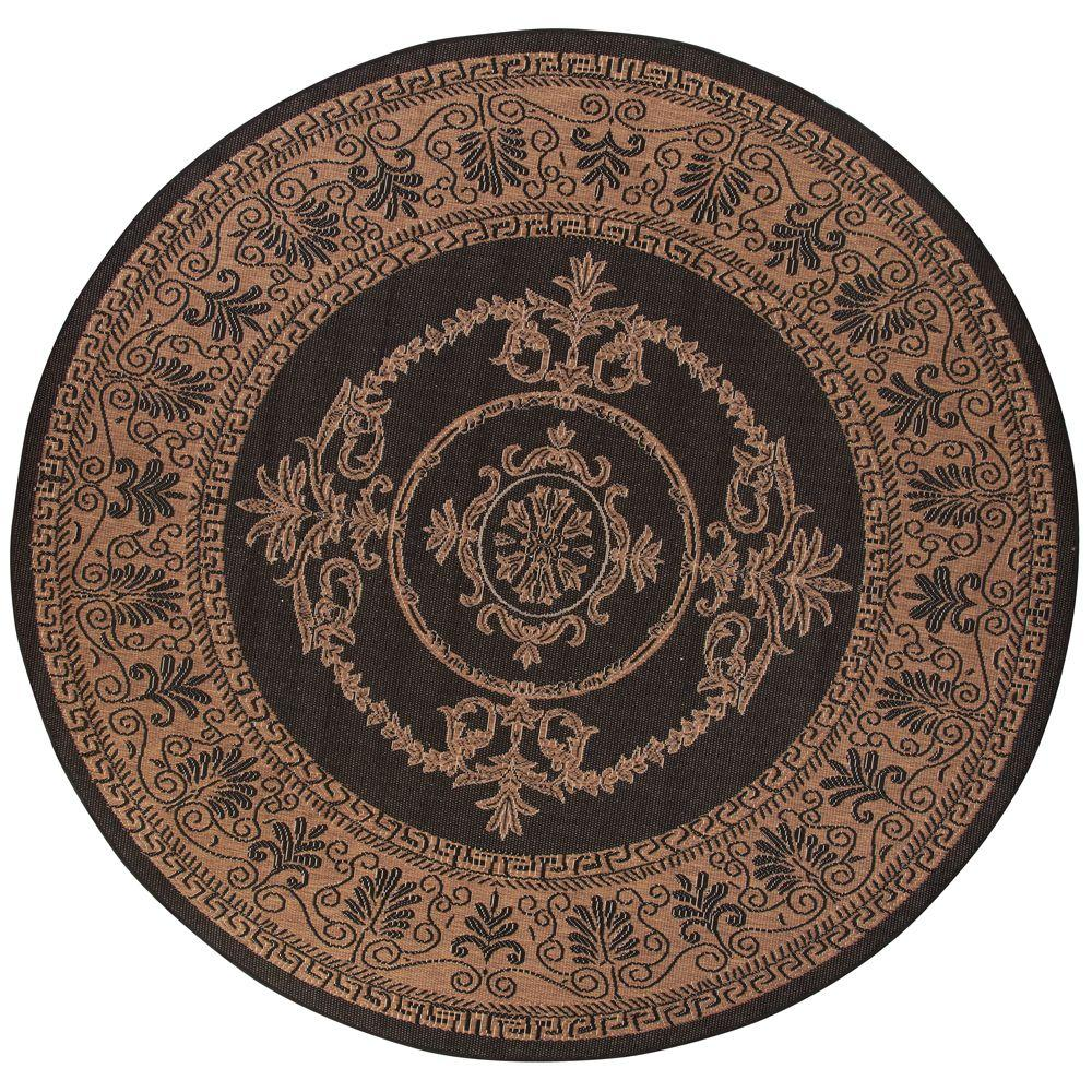 home decorators collection antique medallion black and cocoa 9 ft round area rug 0194545210. Black Bedroom Furniture Sets. Home Design Ideas