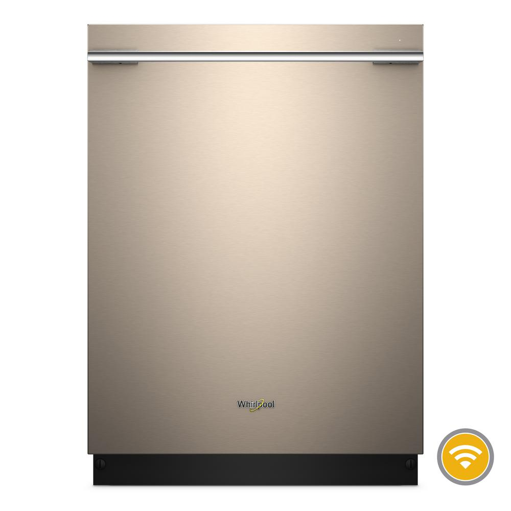 Whirlpool Top Control Smart Built-In Tall Tub Dishwasher with Contemporary Handle in Sunset Bronze, 47 dBA Clean your dishes from anywhere with this stainless steel smart dishwasher. Take advantage of 37% more rack space with the third level rack. Then download specialty and customized cycles from your app, or choose the Sensor cycle and let your smart dishwasher pick the right cycle for you. Finish up with dry dishes thanks to the stainless steel tub. Color: Sunset Bronze.
