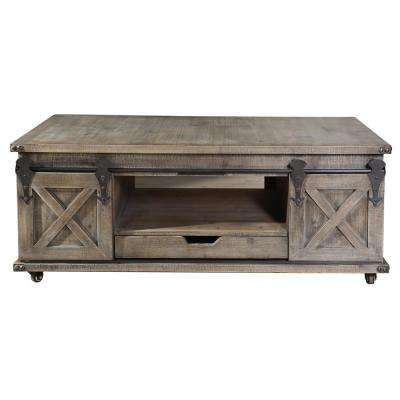 Presley Driftwood Grey 2-Door with Drawer Coffee Table