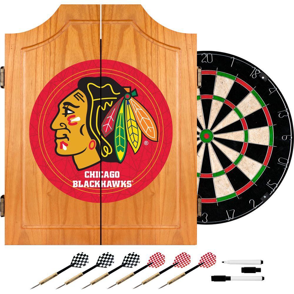 Trademark NHL Chicago Blackhawks Wood Finish Dart Cabinet Set