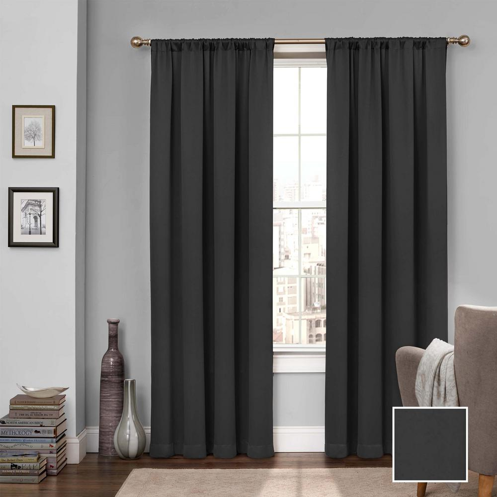 Eclipse Tricia 84 in. L Polyester Curtain in Black