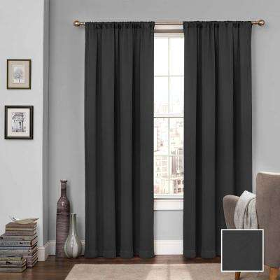 drapes window treatments window covering tricia 84 in polyester curtain in black clear curtains drapes window treatments the home depot