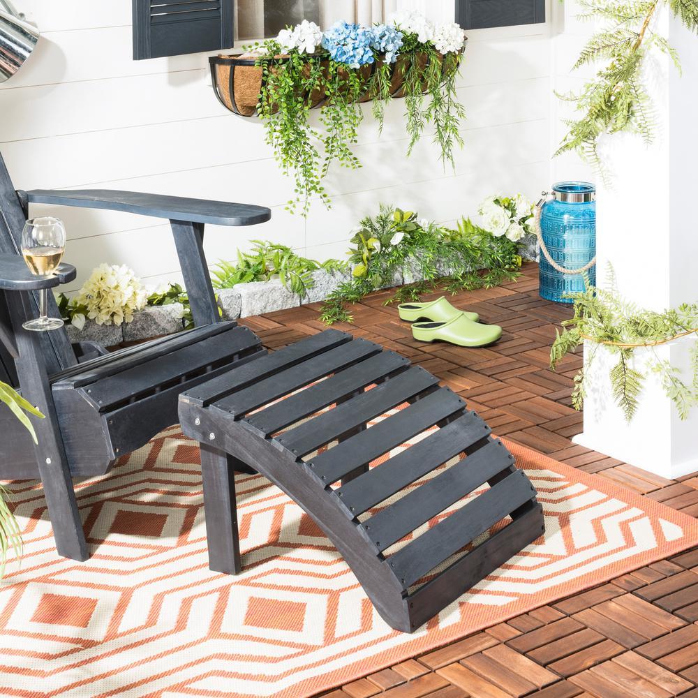 Mopani Dark Slate Gray Wood Outdoor Ottoman